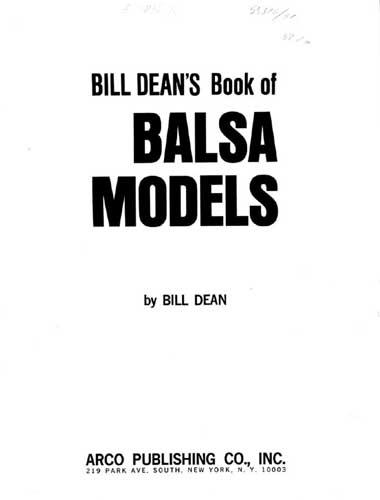 Bill Dean's Book of Balsa Models (RCL#1054)