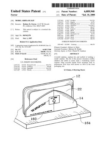 Patent: Model Airplane Kit [Foam tray glider] - cover thumbnail