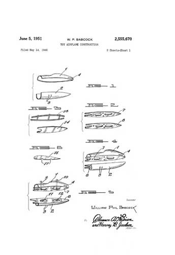 Patent: Toy Airplane Construction (RCL#1154)