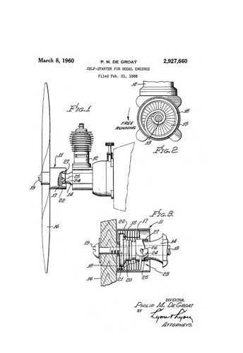 Patent: Self-Starter for Model Engines [Cox] - cover thumbnail