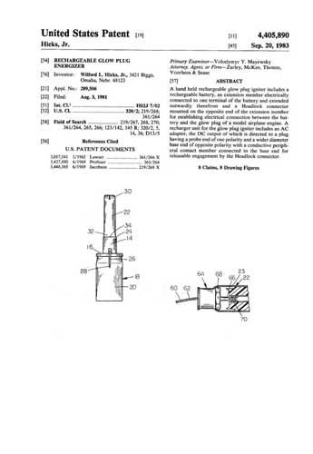Patent: Rechargeable Glow Plug Energizer  - click to view RCLibrary page