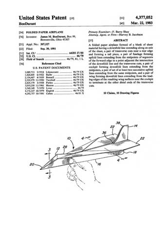 Patent: Folded Paper Airplane  - click to view RCLibrary page