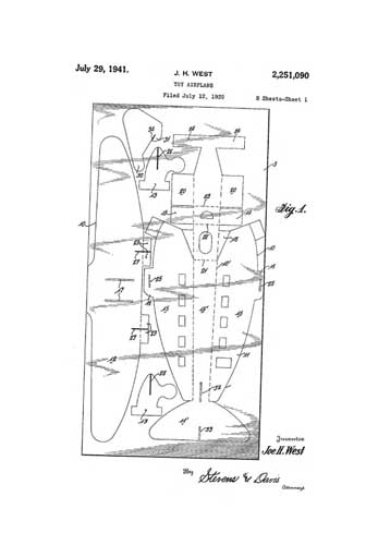 Patent: Toy Airplane [Glider]  - click to view RCLibrary page