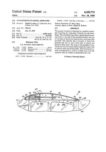 Patent: Attachments in Model Airplanes
