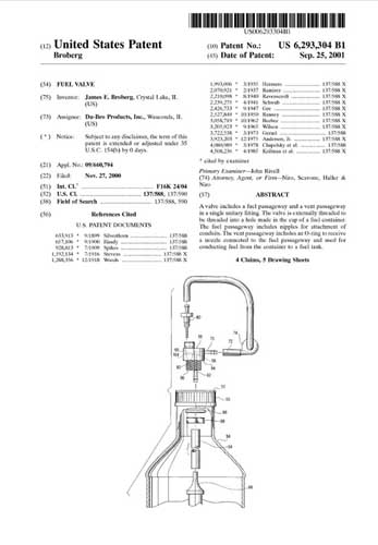Patent: Fuel Valve  - click to view RCLibrary page