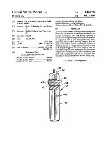 Patent: Device for Forming Closable Wire Spring Snaps  - click to view RCLibrary page