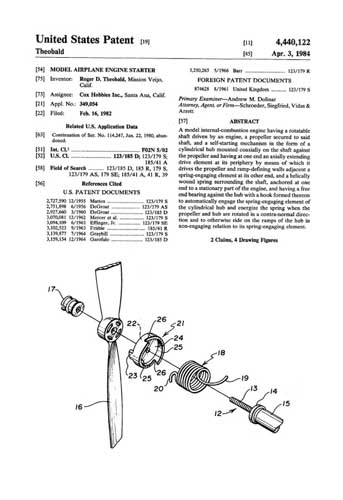 Patent: Model Airplane Engine Starter [Cox] - cover thumbnail