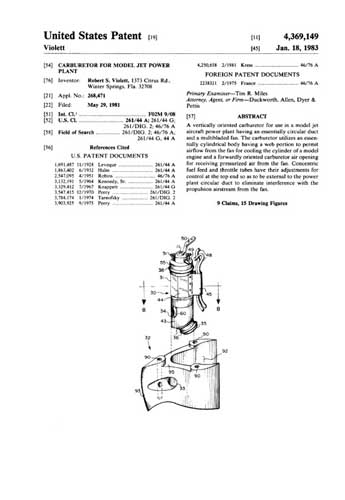 Patent: Carburetor for Model Jet Power Plant