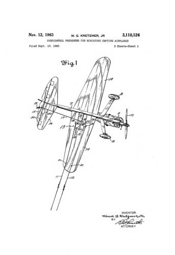 Patent: Overcontrol Preventer for Miniature Captive Airplanes