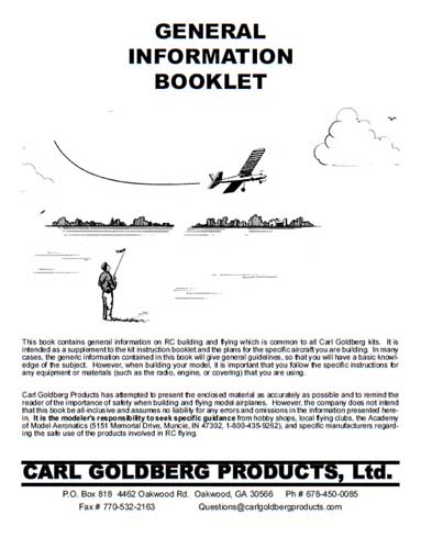 Carl Goldberg General Information Booklet  (RCL#2467)
