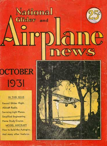 National Glider & Airplane News 1931/10 October - cover thumbnail