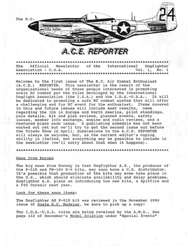 RC ACE Reporter Vol. 1, No. 1 - click to view RCLibrary page