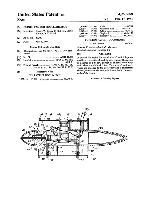 Rclibrary   Patent  Ducted Fan For Model Aircraft Title
