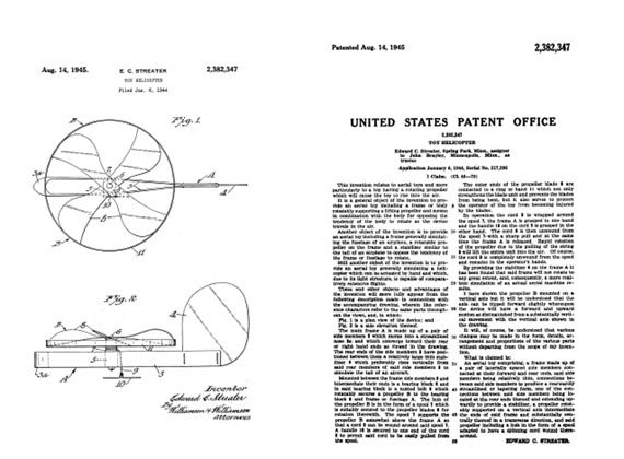Patent: Toy Helicopter  - page scan thumbnails