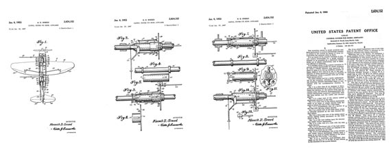 Patent: Control System for Model Airplanes - page scan thumbnails